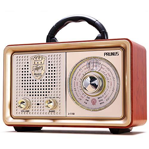 PRUNUS M-110BT UKW/FM/AM(MW)/SW/MP3/USB/SD/TF/AUX Tragbares Bluetooth Retro MP3-Radio. Mit