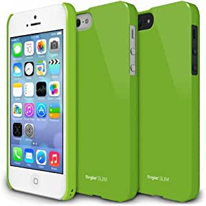 iPhone 5S / 5 Case, Ringke [SLIM] Snug-Fit Slender [Tailored Cutouts] Ultra-Thin Side to Side Edge Coverage Superior Coating PC Hard Skin for Apple iPhone SE 2016 / 5S / 5 - Green