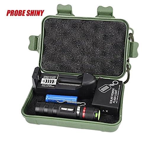 Internet 3 Modes Mini Zoomable Torche Militaire LED Q5 Lampe de poche Police +14500 batterie + chargeur + porte-clé + Boîte