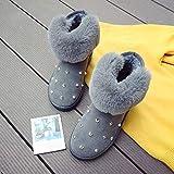 BNXXINGMU Mode Warme Frauen Winterstiefel Schnee Flauschig Plus Samt Frauen Winter Schuhe Ankle Strass Damen Schuhe Grau 7.5
