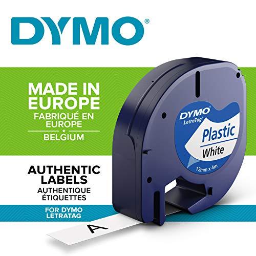 Dymo LetraTag Authentisch Kunststoffetiketten (12 mm x 4 m, schwarz auf weiß, für Dymo LetraTag Etikettendrucker)