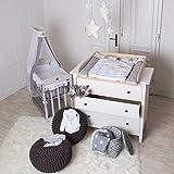 Puckdaddy Naturholz Wickelaufsatz Wickeltischaufsatz für IKEA Hemnes oder Hurdal Kommode