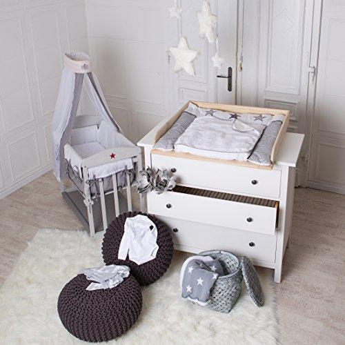Naturholz Wickelaufsatz Wickeltischaufsatz für IKEA Hemnes oder Hurdal Kommode