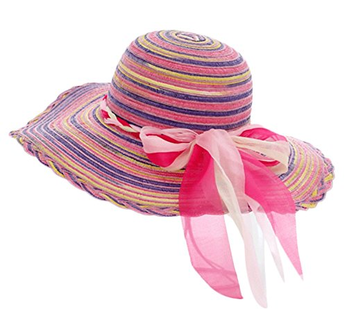 Youkara Frauen Beachwear Sun Hat Regenbogen Strohhut Floppy Big Brim Hut,Lila (Brim Floppy Hat)
