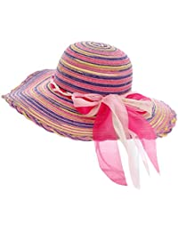 Gespout Cappelli Donna Eleganti Cappello da Sole Protezione UV Berretto da  Spiaggia Tesa Larga Cappello di Paglia Arcobaleno Filato di… 9e5f44ceb534