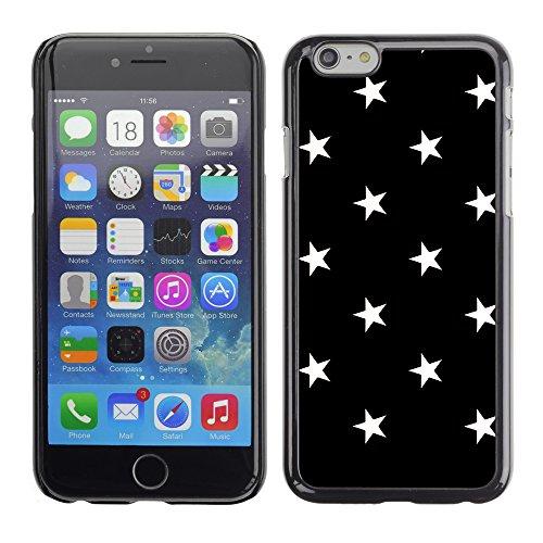 Graphic4You Sterne Muster Design Harte Hülle Case Tasche Schutzhülle für Apple iPhone 6 / 6S (Rosa) Schwarz