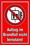 Aufkleber - Aufzug im Brandfall nicht benutzen - Fahrstuhl Brand Feuer - entspr. DIN ISO 7010 / ASR A1.3 – 15x10cm – S00355-041-D +++ in 20 Varianten erhältlich