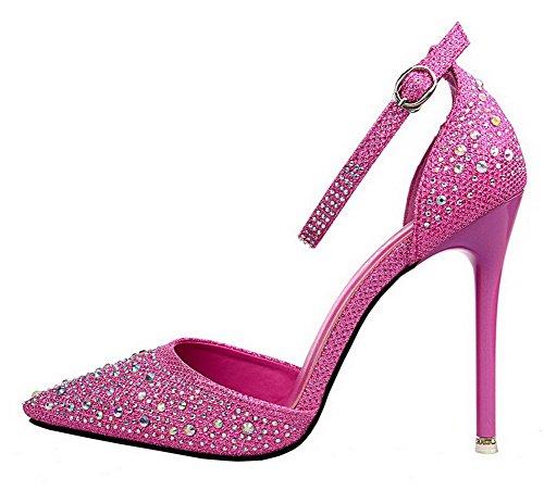 Haut à Couleur Légeres Chaussures Unie Boucle Talon Femme Cramoisi VogueZone009 PU Cuir ZtH1tqx