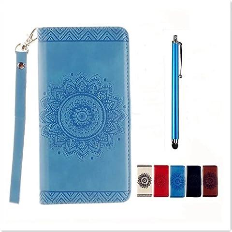 Samsung Galaxy J5(2015)J500 Custodia in PU Pelle Blu modello fiore indiano mandala - KSHOP Fatto a Mano Custodia Wallet Protettiva Portafoglio Stand Case Magnetico Flip,ID Slot per Scheda Con mano corda - tocco di metallo penna