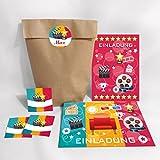 8-er Set Einladungskarten, Umschläge, Tüten, Aufkleber zum Kindergeburtstag für Mädchen und Jungen Kino-Party / pink / bunt (8 Karten + 8 Umschläge + 8 Party-Tüten + 8 Aufkleber (Kreuzbodenbeutel))