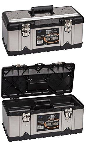 """Kreher Edelstahl Werkzeugkoffer-Set. 2 Profi Koffer 18\"""" mit Edelstahl Korpus, Werkzeugträger, Metallverschlüssen und Ablängvorrichtung. Maße pro Koffer BxTxH 47 x 23 x 20 cm"""