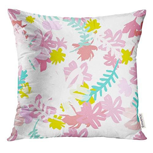 yuweishop Kissenbezug Bunte Moderne Sommer mit floralen Ornamenten Hipster stilvolle Muster rosa 90er Jahre dekorative Kissenbezug Home Decor Square 18 x 18 Zoll Kissenbezug
