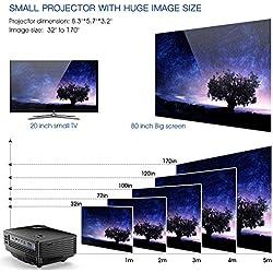 Proyector, Mini Proyector TENKER RD805, Portable Home Cinema HD LED Vídeo Proyector de Películas Soporte 1080P USB VGA HDMI AV, Compatible con TV Smartphones iPhone iPad, Negro