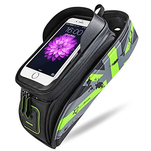 """ASOSMOS Fahrrad- Tasche, Fahrrad Rahmen Tasche & Gepäcktasche für iPhone X / 6s/6s Plus/7/7 Plus/8/8 Plus ,Samsung Galaxy S7 S6 Plus und Andere 5.8\"""" Handy - Grün, Medium"""