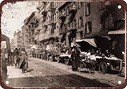 WallAdorn 1900 Peddlers in Little Jerusalem NYC Eisen Poster Malerei Blechschild Vintage Wanddekoration für Cafe Bar Pub Home - Nyc Kleines Poster
