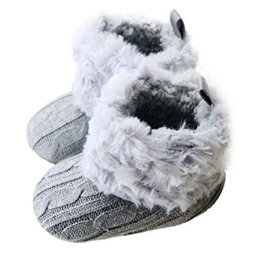 FEITONG Baby Schnee Stiefel Winter warme weiche Krippe Schuhe Kleinkind Stiefel (0-12 Monate, Rosa) Grau