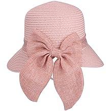 Bowknot Casual Sombrero de Paja para Mujer Verano Sun Beach Sombrero de  Paja UPF 50+ e1de20d80f5