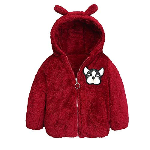 (Modaworld Kleinkind-Baby-Jungen-Karikatur-Hund Feste warme-Jacken Samtjacke mit Kapuze Mantel-Oberseiten Hündchen Drucken Ohr Plüsch Reißverschluss Warm halten Jacke Outwear Hooded)