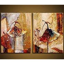 Wieco Art Peinture abstraite à l'huile sur toile Prête à accrocher pour décoration de la maison Motif diptyque représentant des danseurs de ballet