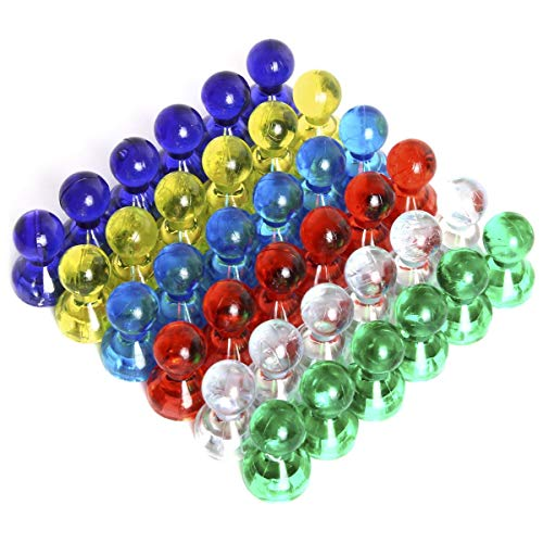iGadgitz Home U6922 - Puntine Magnetiche Colorate Push Pins Calamite Magneti per Frigorifero, Lavagna Bianca, Bacheca, Ufficio, Mappa Magnetica, Calendario, ecc - Multicolore - 36 pezzi