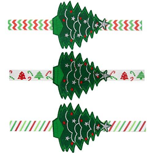 SHUhua 3Pcs Albero di Natale del fumetto fascia della forcella del fiore Accessori per capelli per le ragazze