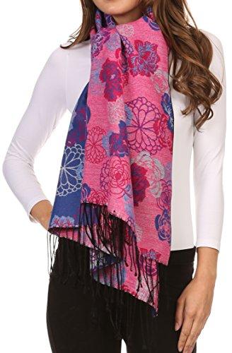 Sakkas Ontario Pashmina/Châle/Pèlerine/Étole Floral double couche avec bordure 3-Cobalt