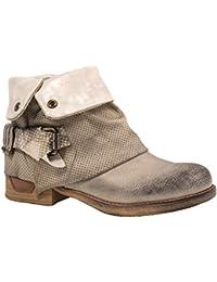 Elara Damen Stiefeletten   Bequeme Biker Boots   Metallic Print Nieten    Chunkyryan faa807ea4e
