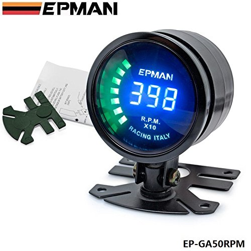 dynry (TM) New epman Racing 52 mm Smoked LED RPM Tacho tachimetro Gauge Meter con staffa ep-ga50rpm