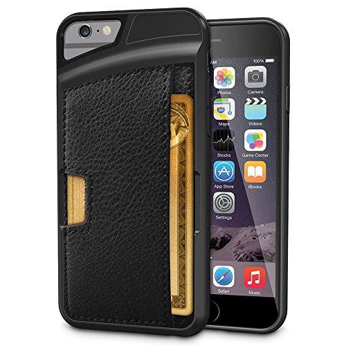 VComp-Shop® Handy Schutzhülle mit Kartenfach für Apple iPhone 6/ 6s + Großer Eingabestift - SCHWARZ SCHWARZ