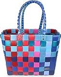 normani® Einkaufstasche Shopper geflochten aus Kunststoff - robuster Strandkorb Vintage Style 38cm x 25cm x 28cm Farbe Classic/Grande