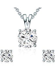 Rafaela Donata - Puces d'oreilles & collier avec pendentif collier maille forçat - Laiton, boucles d'oreilles, bijoux en laiton - 60755001