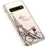 Uposao Custodia Compatibile con Samsung Galaxy S10 5G Custodia Silicone Gel TPU Trasparente con Disegni Cover Modello Morbida Ultra Sottile Slim Antiurto Protettiva Cover,Torre di Parigi