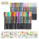 BBLIKE 48 Colores Bolígrafos de Gel para colorear y 9pcs Plastico Plantillas Dibujo Stencil Bullet Journal para - Incluye purpurina, metálico, neón y clásicos - Para scrapbooking, colorear