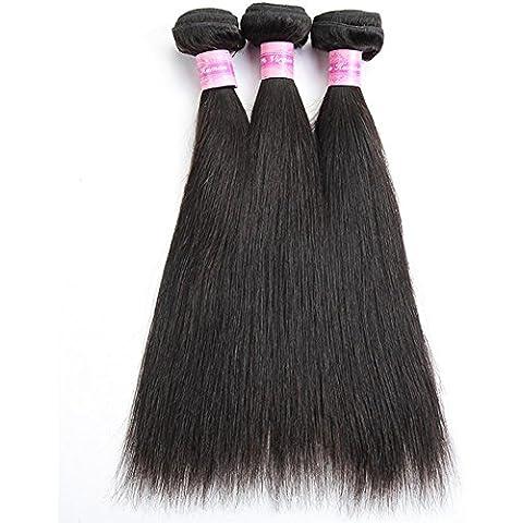 Meydlee Extension Posticci 8 ~ 30 pollici brasiliano vergine umano capelli estensione setosa dritto, Pack di tre, 100g/Bundle, 6A naturale colore di trama dei capelli umani , 22 24 26