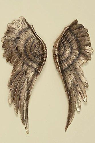Decorazione da parete da 2 pezzi, con ali d'angelo, 54 x 22 cm, colore oro anticato