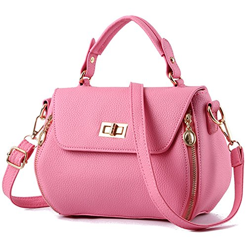 fanhappygo Fashion Retro Leder Damen unique clutch Schulterbeutel Umhängetaschen Abendtaschen rosa