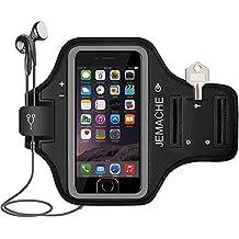 iPhone 6/6S/7/8 Brazalete, JEMACHE Dactilares Touch Apoyo Exclusivo Running Pasear Ejercicio Gimnasio Deportivo Brazo Banda Armband para iPhone 6/6S/7/8 (Negro)