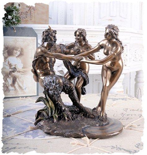 MYTHOLOGISCHE SKULPTUR SATYR & NYMPHEN ALLEGORIE ANTIKE PALAZZO EXCLUSIV