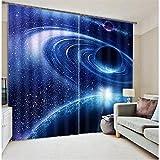 FaceToWind Vorhang Fenster Vorhang Galaxy Universum 3D Foto Druck Blackout Vorhänge für Kinder Bettwäsche Wohnzimmer Vorhänge Curtians Sonnenschirm Fenster Vorhang W300cmxH280cm