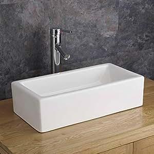 Clickbasin 49.6cm X 24.5cm Narrow Counter Top Treviso Rectangular Basin by Clickbasin