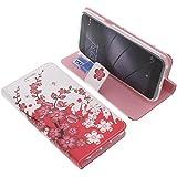 Tasche für Gigaset Me Pure Book Style Lila Blüte Schutz