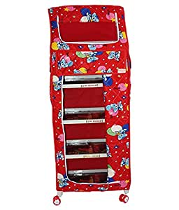 Gomani Foldable Almirah Amardeep Red Plastic Kids Almirah With 5 Trays Racks Cupboard