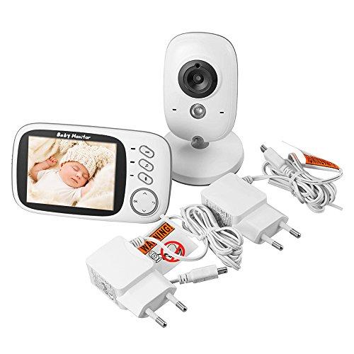 XCSOURCE 2.4 GHz Wireless Digital Video Baby Monitor, visione notturna, temperatura / tempo che mostra, con 8 Lullabies e 2 di colloquio di senso Talkback VOX sistema HS494