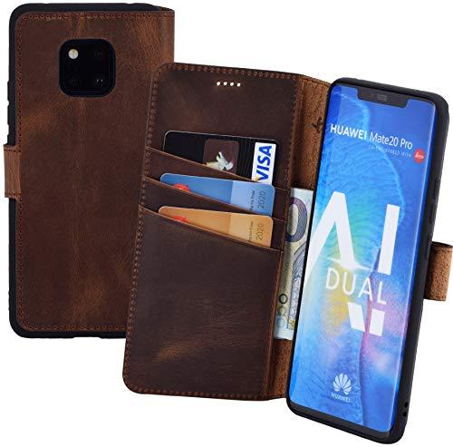 Suncase Book-Style kompatibel für Huawei Mate 20 Pro Hülle (Slim-Fit) Leder Tasche Handytasche Schutzhülle Case (mit Standfunktion und Kartenfach - Bruchfester Innenschale) in antik Coffee