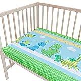Les Dinosaures joyeux Lot de 2 draps housse Pati'Chou pour lit bébé 70x140 cm