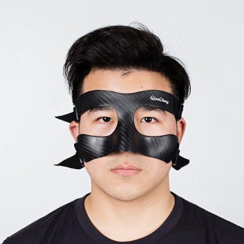 QianCheng, QC-Pro-TW, protezione per naso e viso, maschera protettiva in fibra di carbonio,motivo a tessuto intrecciato