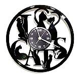 Instant Karma Clocks Horloge Murale en Vinyle Idée Cadeau Vintage Faite à la Main I Love Cats Chat