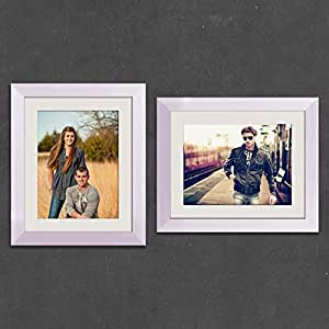 ArtzFolio Wall & Table Photo Frame D528 White 8x10inch;Set of 2 PCS with Mount