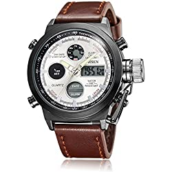 OHSEN Men's Sport Quartz Watch With Brown Top Layer Leather Band