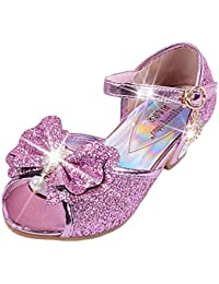 31dcc09b2585d Yy.f YYF Fille Sandale Princesse Chaussures a Talon Reine de Neige Belle  avec Pailliettes